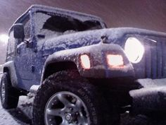 snow driving: I have a '98 standard Jeep Wrangler,she is a 4-cylinder, she is a bluish purple color so I call her blurpule.   Has a little bit of a wheel upgrade but