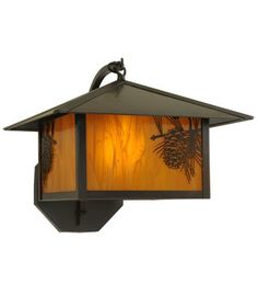 """13.25""""W Seneca Winter Pine Curved Arm Outdoor Wall Sconce"""
