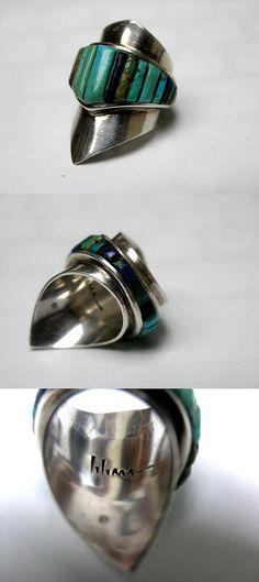 https://flic.kr/p/8t7sTB | Charles Loloma | 1970s Charles Loloma inlay ring, turquoise, lapis, malachite.