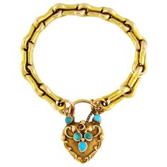 Yellow gold gate bracelet with heart-shaped gold and turquoise hair locket clasp, c. 1890.