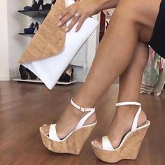 Ankle Strap Platform Line-Style Buckle White Wedge Sandals the world of shoes, offers all kinds of high quality women shoes Strappy Wedge Heels, White Wedge Sandals, White Wedges, Ankle Strap Heels, Ankle Straps, Wedge Shoes, Wedge Sandals Outfit, Women's Shoes, Golf Shoes