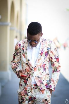 "Flowers. Pattern. Massive. Hip. Fresh. New. Fashion. Summer. Breeze. White & Pink. Street. Style. Dressed. Proper. Suit. Shirt. Social. Men. Clothing. ""Not a Wallflower""!"