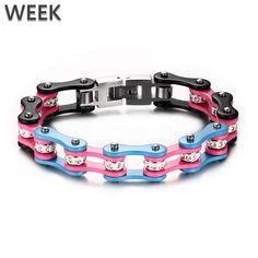 Week Jewelry Colorful Plating Titanium Steel Shiny Rhinestone Bracelets Fashion Cycle Chain