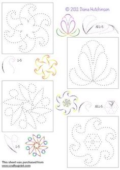 Fantasy Flowers on Craftsuprint designed by Diana Hutchinson - Stitching patterns for four fantasy flowers. - Now available for download!