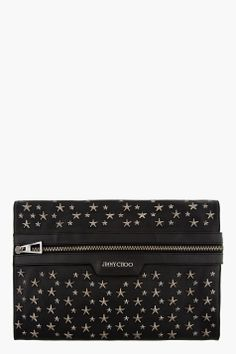 JIMMY CHOO Black Leather Start-Studded Stafford Pouch