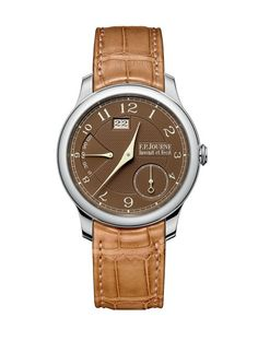 "The F.P. Journe Octa Automatique Reserve features a brand-exclusive ""Havana""-colored dial and caramel-colored leather strap for the cigar aficionado set.  More @ http://www.watchtime.com/wristwatch-industry-news/watches/f-p-journe-octa-automatiques-sport-new-havana-dials/ #FPJourne #watchtime #luxurywatch"