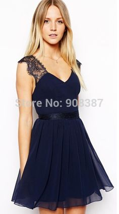 2015 summer new navy blue woman short patchwork chiffon party dresses deep V neck Lace backless sexy bodycon dress for women