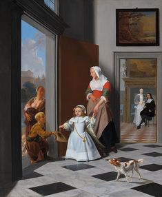 Jacob Ochtervelt - A Nurse and a Child in an Elegant Foyer - - National Gallery of Art - Category:Jacob Ochtervelt - Wikimedia Commons Cleveland Museum Of Art, Art Institute Of Chicago, Vintage Wall Art, Vintage Walls, Oil On Canvas, Canvas Prints, Art Prints, Hall Painting, National Gallery Of Art