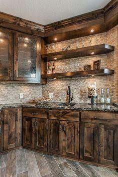 47 rustic kitchen area cupboards ideas 15 47 Rustic Kitchen Area Cupboards Ideas ~ vidur - Home decor interests Rustic Cabin Kitchens, Rustic Kitchen Cabinets, Rustic Kitchen Design, Home Decor Kitchen, Diy Kitchen, Home Kitchens, Small Kitchens, Rustic House Design, Dream Kitchens