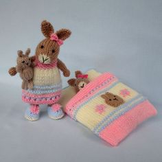 Bedtime Bunny plus tiny toy bunny and sleeping bag. Knitted rabbit doll pattern…