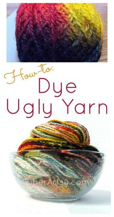 How to Dye Ugly Yarn. A yarn dyeing experiment gone wrong! Learn how not to dye your wool yarn with this FiberArtsy.com tutorial