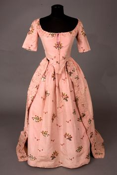 Pink Silk Brocade Dress & Petticoat, 1770s