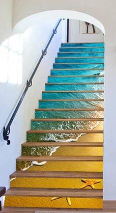 3D beach stairs shell Risers Decoration Photo Mural Vinyl Decal Wallpaper US   Home & Garden, Home Décor, Decals, Stickers & Vinyl Art   eBay!