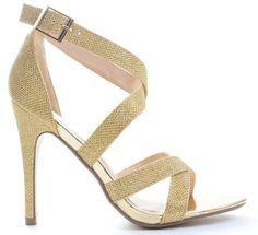 Gold Glitter Open Toe Wedding Formal Ankle Strap Heel