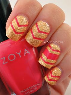 Pixie Dust Chevron Nails | See more at http://www.nailsss.com/colorful-nail-designs/2/
