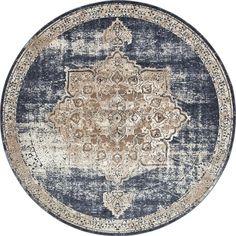 Villa Dark Blue/Beige Abstract Round Rug (8')