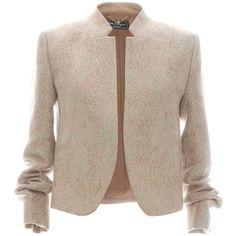 Salvatore Ferragamo Linen Jacquard Jacket featuring polyvore, fashion, clothing, outerwear, jackets, 3/4 sleeve jacket, salvatore ferragamo, linen jacket, brown jacket and brown linen jacket