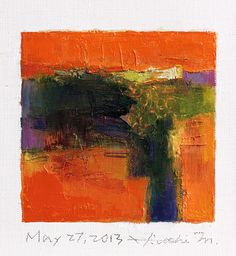 May 27, 2013 - Original Abstract Oil Painting - 9x9 painting (9 x 9 cm - app. 4 x 4 inch) with 8 x 10 inch mat
