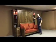 Jordan Murphy Bed with Sofa Murphy Bed With Sofa, Murphy Bed Desk, Modern Murphy Beds, Murphy Bed Plans, Office With Murphy Bed, Diy Murphy Bed, One Room Flat, Ikea Bed, Bed Wall