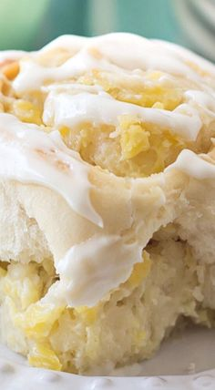Pineapple Cream Cheese Sweet Rolls ~ Sweet, tender yeast rolls swirled with a luscious pineapple cream cheese filling, topped with a tangy cream cheese drizzle. This tropical twist on the classic cinnamon roll is sure to be a hit at your next brunch! Just Desserts, Delicious Desserts, Dessert Recipes, Yummy Food, Healthy Desserts, Sweet Roll Recipe, Pineapple Recipes, Pineapple Rolls Recipe, Dessert Bread