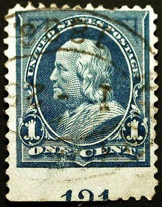 #247 1c Blue 1894 Plate # 121 Used with Perf Error - Giant Classic Stamp Sale at LittleArtTreasures.com or http://stores.ebay.com/Little-Art-Treasures