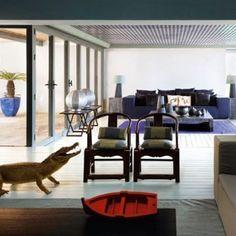 interior house with big windows -Giorgio Armani's holiday home