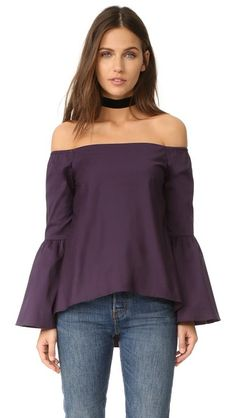 dff7c7554f 525 America Off Shoulder Bell Sleeve Top Shoulder Shirts