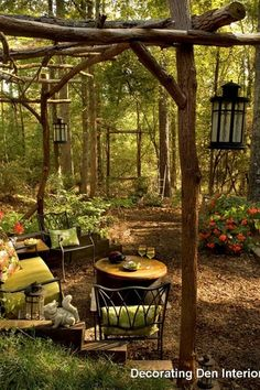 Rustic Landscape/Yard with Iron lanterns, Natural wood trellis, Rod iron furniture