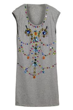 ROMWE | Baroque Jewel Embellishment Light Gray Dress, The Latest Street Fashion