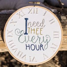 I Need Thee Every Hour / Hymn Hoop / Hymn Art / by SweetAddieBeth. $28 - click to see details.