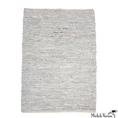 Pearl Grey Leather Rug
