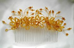 Golden Floral Beaded Hair Comb  Gold and Ivory by ExclusiveTiaras, £45.00