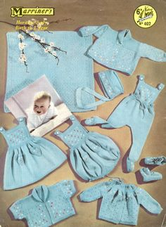 http://www.theretroknittingcompany.co.uk vintage baby knit pattern dungarees, blanket, shawl, dress, onsie, cardigan coat, jacket, booties