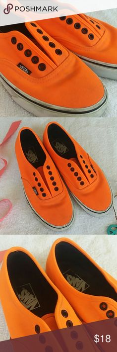 NEON ORANGE VANS! Size womens 8, Bright orange! Great condition, only some markings on outside from being moved around, Bottoms are in great shape! Vans Shoes Sneakers