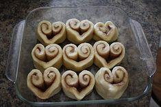 Just use pillsbury cinnamon rolls!!!! valentines day breakfast!!!