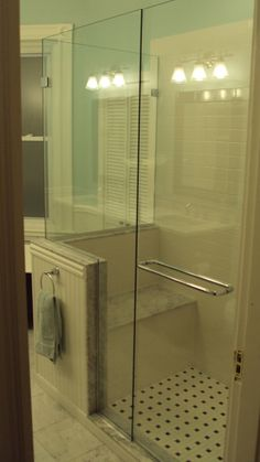 Want a seat and door like this when we re-do our shower but different tile etc
