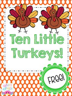 Speechie Freebies: 10 Fat Turkeys! Pinned by SOS Inc. Resources. Follow all our boards at pinterest.com/sostherapy for therapy resources. Thanksgiving Art, Thanksgiving Preschool, Fall Preschool, Preschool Activities, Preschool Speech Therapy, Speech Therapy Activities, Language Activities, Therapy Ideas, Therapy Tools