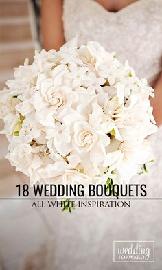 18 All White Wedding Bouquets Inspiration ❤ An all-white wedding bouquet is a staple of any gorgeous wedding. See more: http://www.weddingforward.com/white-wedding-bouquets-inspiration/ #wedding #bouquet
