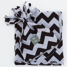black and grey jersey knit chevron swaddle blanket