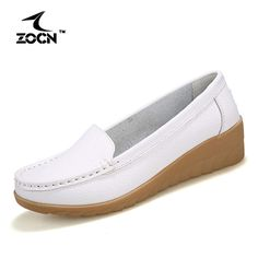ZOCN New 2016 Women Genuine Leather Shoes Slip-On Ballet Women Flats Comfort Shoes Woman Moccasins   Casual Shoes Zapatos Mujer