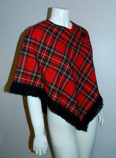 vintage 1970s red plaid poncho 70s wool Clan Stewart by retrotrend