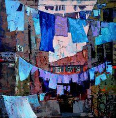 Net News by Anastasija Kraineva - Net News Painting - Net News Fine Art Prints and Posters for Sale Abstract Landscape, Urban Landscape, Abstract Art, Modern Art, Contemporary Art, Laundry Art, High Art, Saatchi Art, Art Drawings