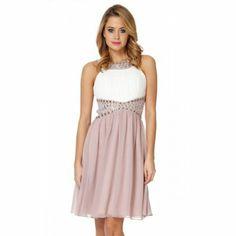 Quiz Mocha Chiffon Beaded Dress- at Debenhams.com