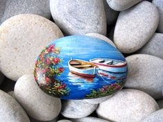 Painted stone landscapes with two fishing boats by Lefteris Kanetis