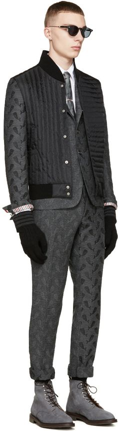 Thom Browne Grey Whale Jacquard Trousers