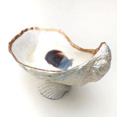Oyster Shell Ring Dish Oyster Shell Decor by CoastalCornucopia