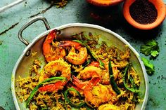 Prawns with coconut, green chillies and mustard seeds. One of Rick Stein's fish suppers.