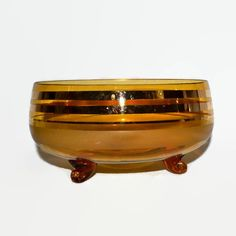 New to ChicMouseVintage on Etsy: Amber Glass Footed Bowl - Empoli Italy - Tri Footed Applied Feet - Gold Rings - Autumn Thanksgiving Decor or Serving - Hollywood Regency (55.00 USD)