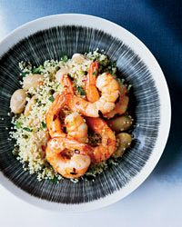 Chile Shrimp with Butter Beans and Lemony Couscous Recipe on Food & Wine - sub with quinoa for GF