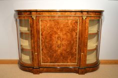 A Victorian Period burr walnut, marquetry and ormolu antique credenza